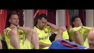 Rakitic, Busquets y Coutinho, destrozados en el vestuario de Anfield.