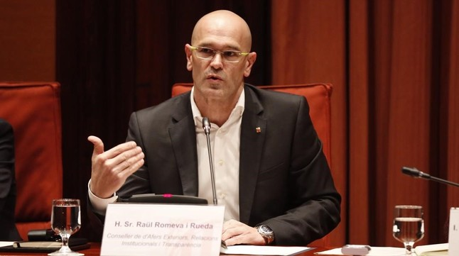 Raül Romeva, durante su comparecenciaen la comisión de Afers Exteriors del Parlament.