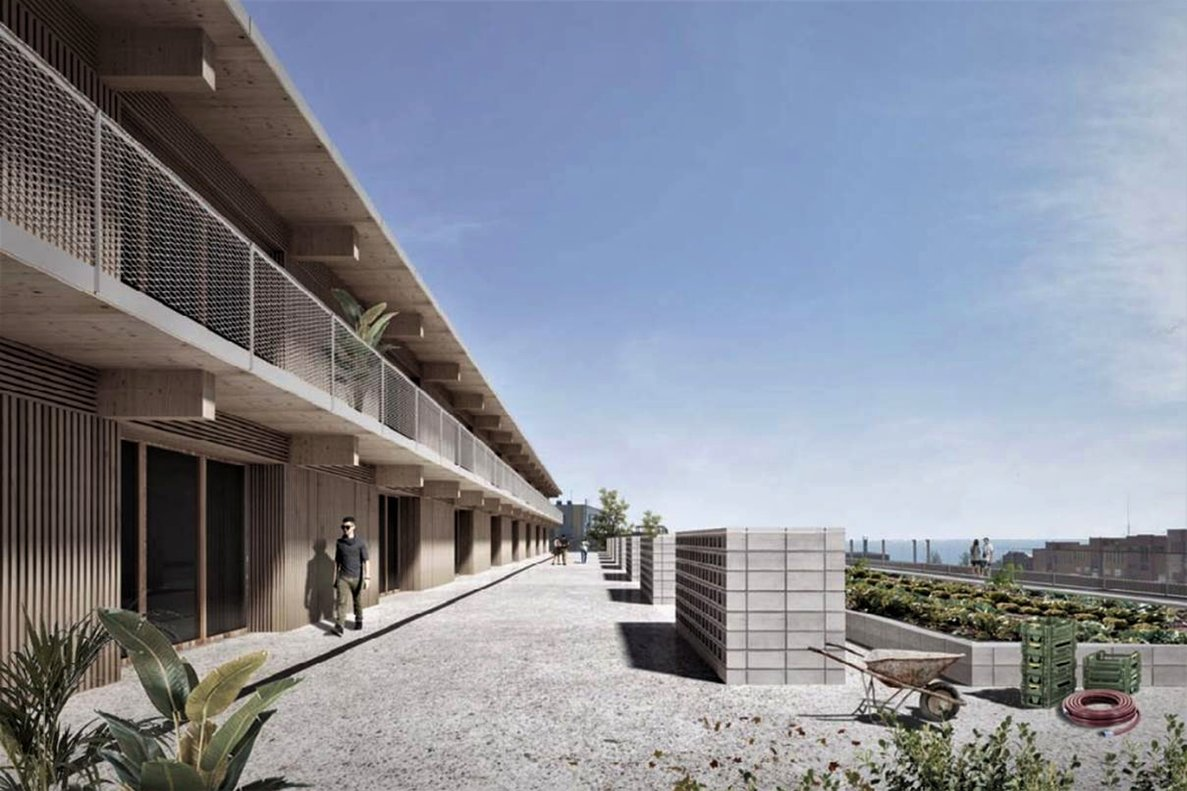 Recreación virtual de uno de los edificios del futuro Parc Circular Mataró.