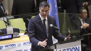 El presidente del Gobierno español, Pedro Sánchez, durante su intervención en la sede de Naciones Unidas.