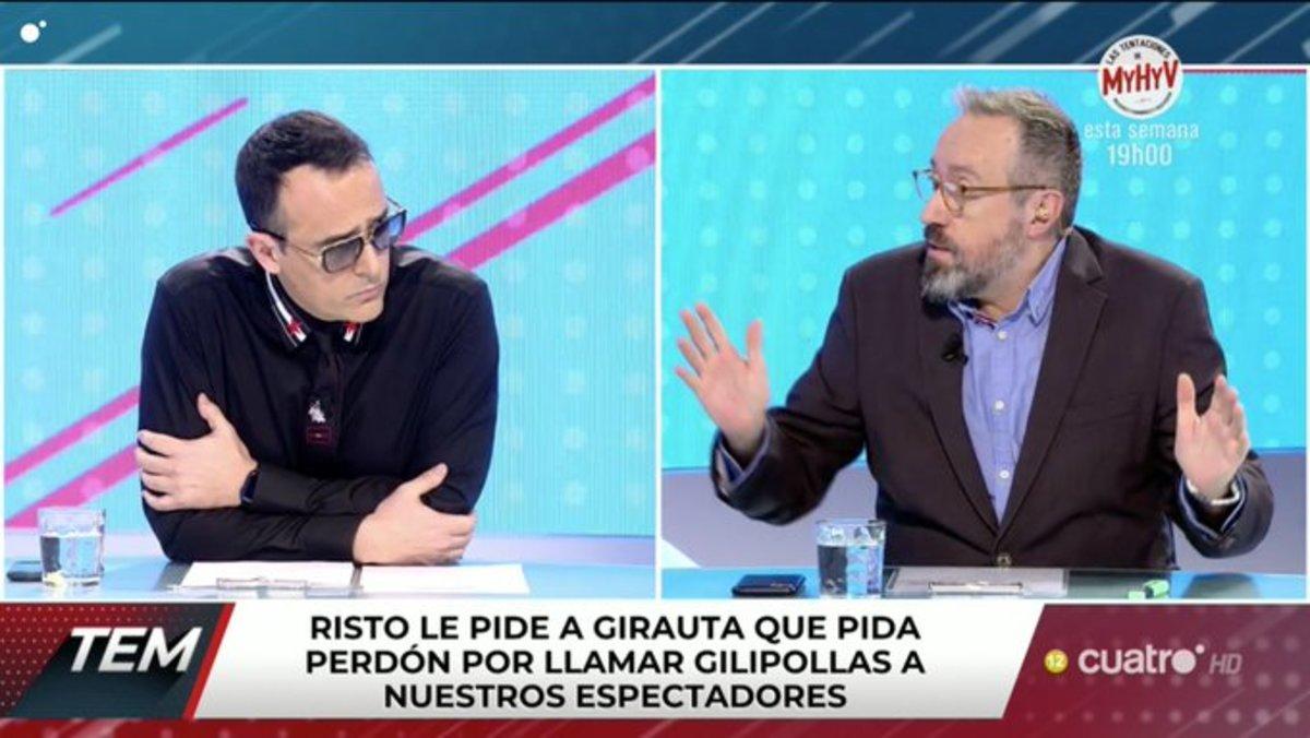 """Risto expulsa del plató de 'Todo es mentira' a Juan Carlos Girauta por llamar """"gilipollas"""" a los espectadores y no retractarse"""