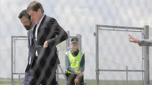 El presidente del Parlament, Roger Torrent, a la salida de la cárcel de Estremera