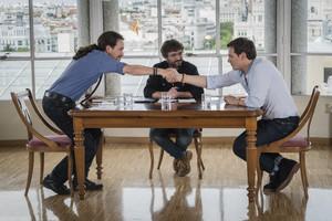 Pablo Iglesias, Jordi Évole y Albert Rivera, en una imagen de 'Salvados'.