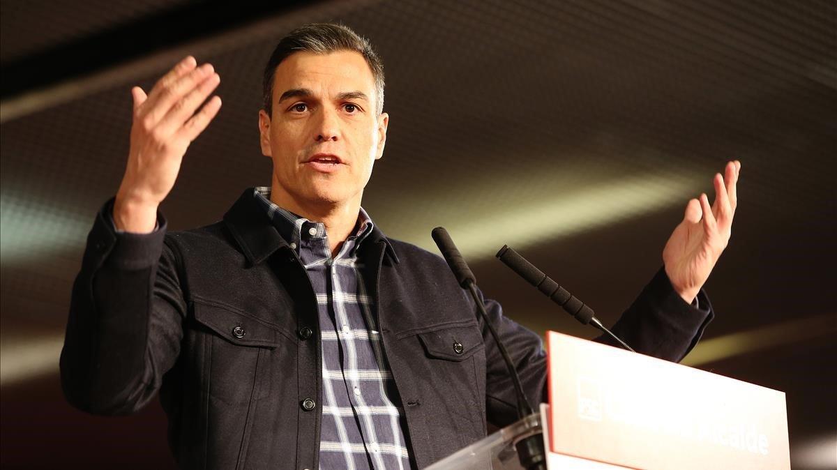 Sánchez, en un acto electoral en Barcelona, este sábado.