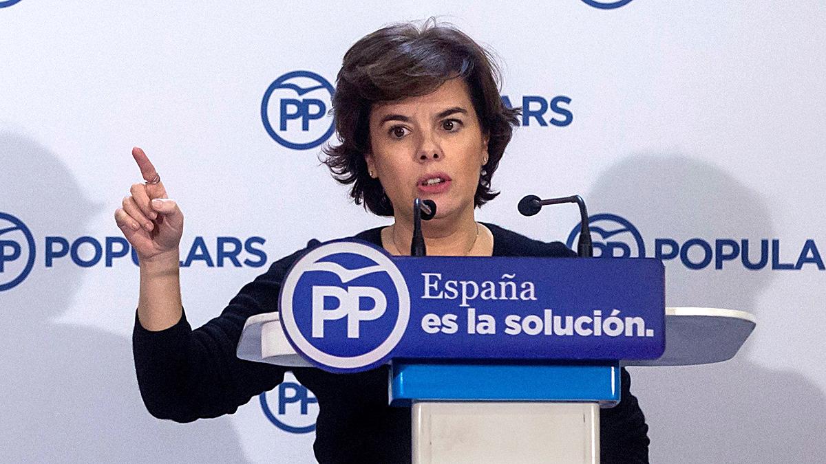 Santamaría pide el voto al PP para seguir liquidando el independentismo.