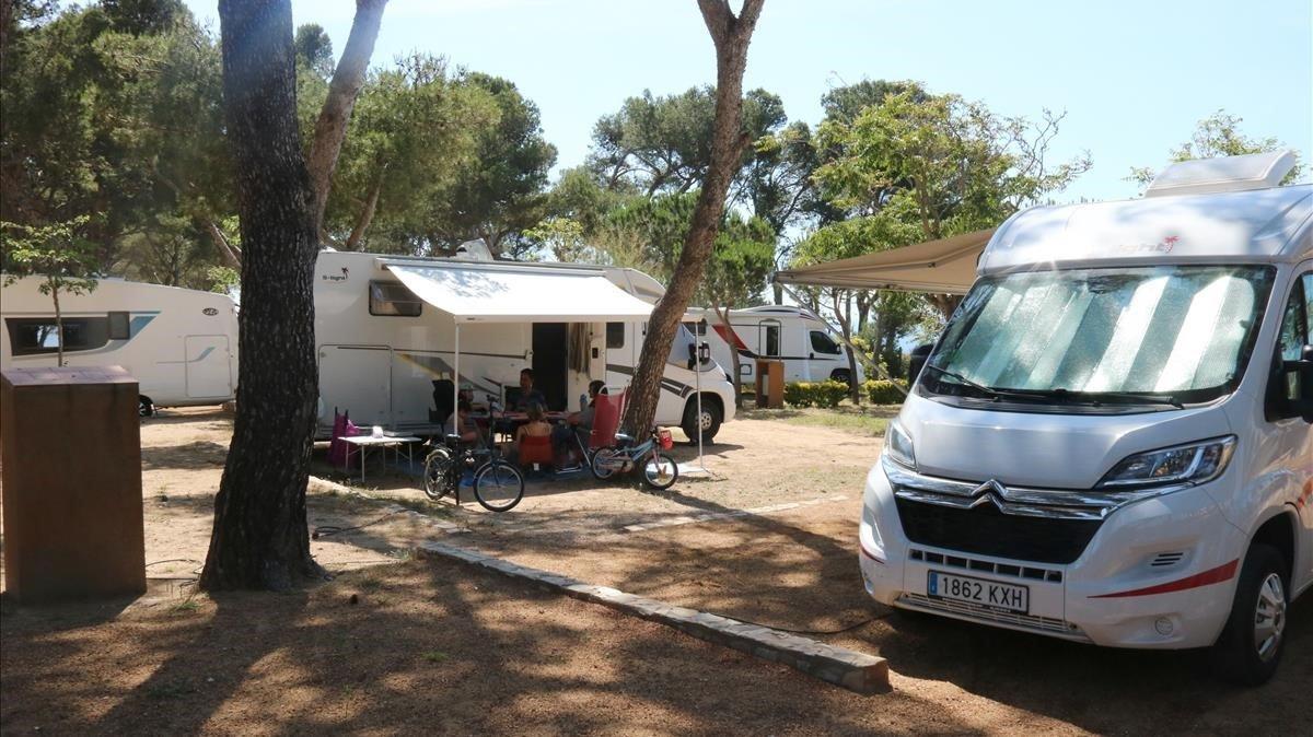 El interior del camping de Palamós, este sábado.