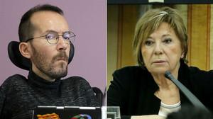 El secretario de organización de Podemos, Pablo Echenique, y la diputada del PP Celia Villalobos.