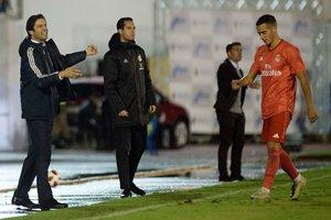 Solari y Lucas Vázquez, en el partido de Copa Melilla-Madrid.