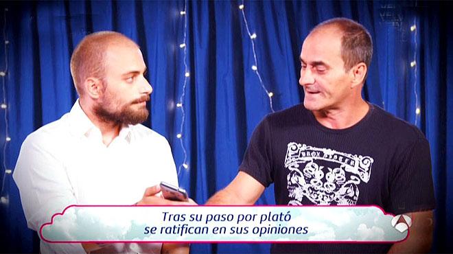 El supuesto padre negando su supuesta paternidad, en un momento del programa 'El amor está en el aire', deAntena 3 TV.