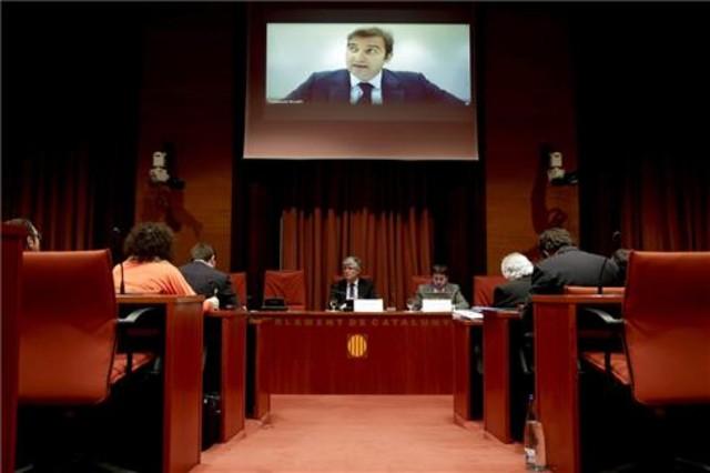 El expresidente de Spanair Ferran Soriano, durante su comparecencia por videoconferencia en la comisión del parlamento catalán.