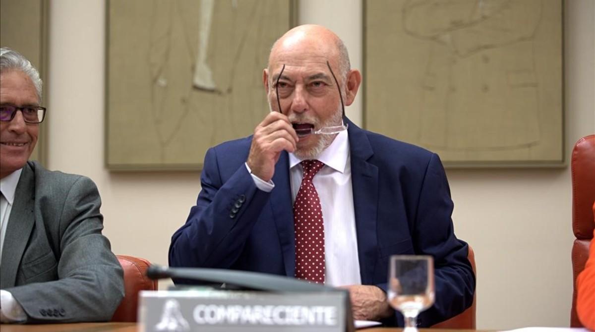 El fiscal general del Estado, José Manuel Maza, en su comparecencia, el 10 de mayo.