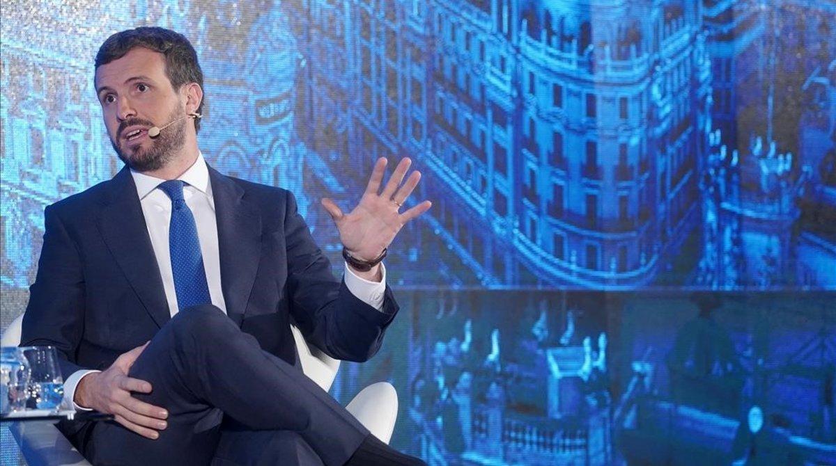 El presidente del PP, Pablo Casado, el martes en Madrid, en el tercerCongreso bienal Iberoamericano organizado por el Consejo Empresarial Alianza por Iberoamérica (CEAPI).