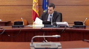 El presidente del Gobierno, Pedro Sánchez, preside el Consejo de Ministros este martes.