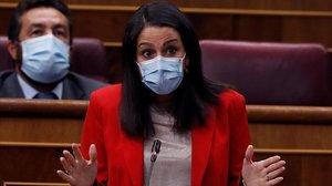 La líder de Ciudadanos, Inés Arrimadas, en el pleno del Congreso de los Diputados