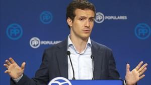 El vicesecretario de comunicación del PP, Pablo Casado, este lunes, 21 de septiembre, en rueda de prensa.