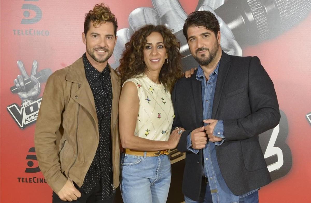 David Bisbal, Rosario Flores y Antonio Orozco, coaches de La voz kids.
