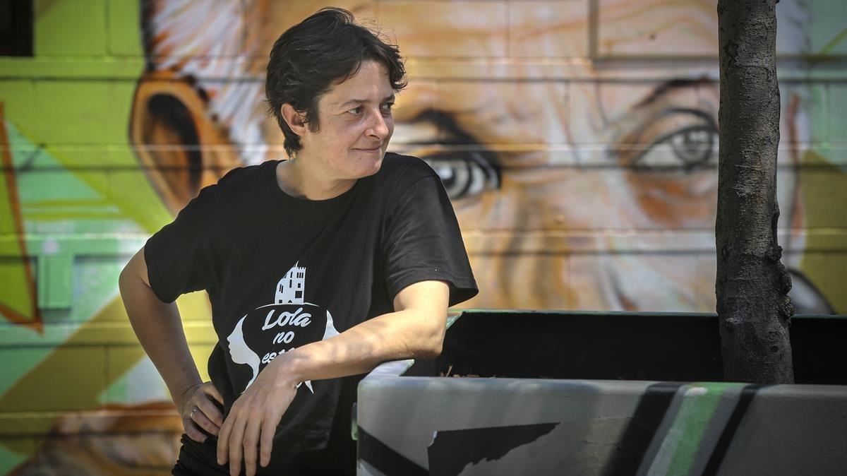 Yolanda Gamesen la plaza de Ángel Pestaña de Barcelona.