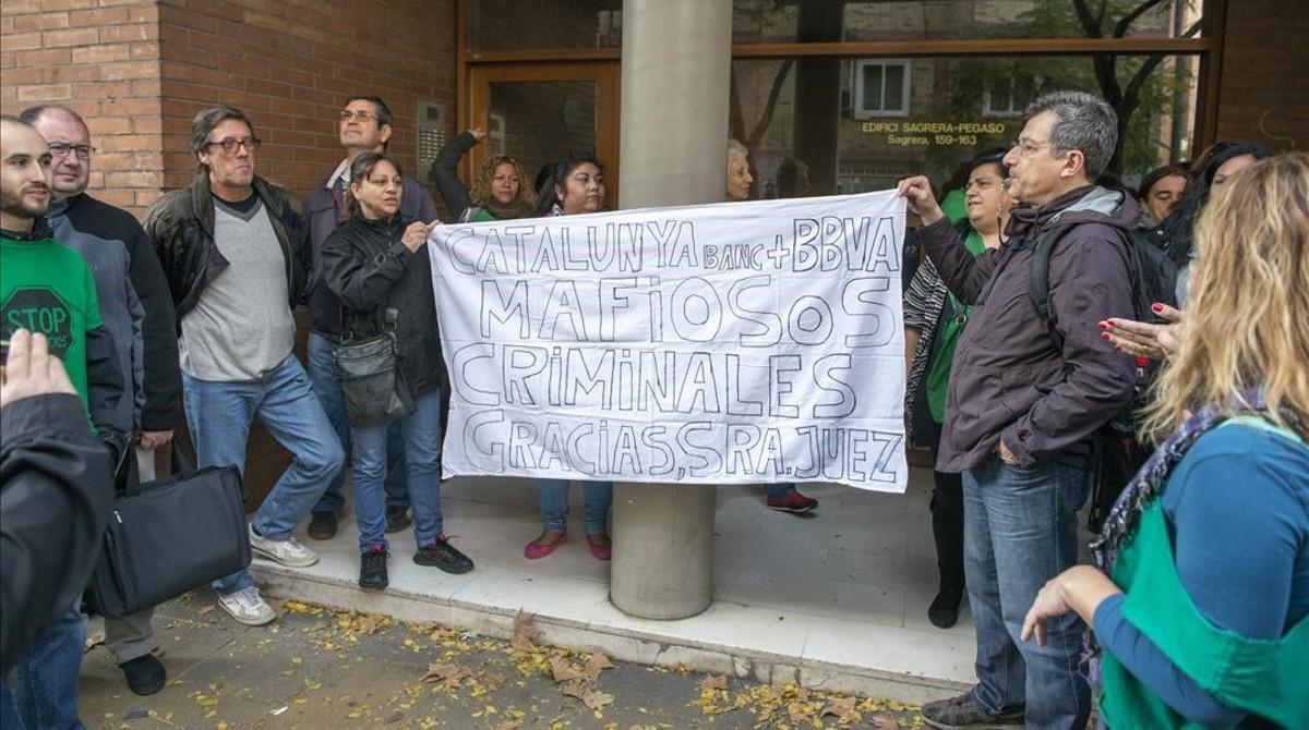 Protesta contra un deahucio en Barcelona.