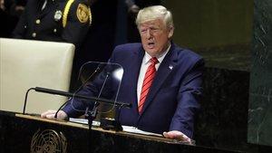 El presidente Donald Trumpdurante lasesión de la Asamblea General de las Naciones Unidas en Nueva York.