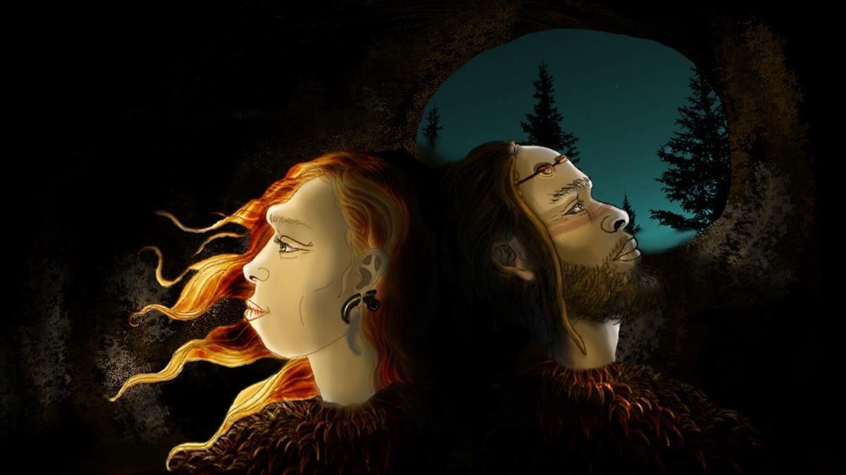 Reconstrucción idealizada de neandertales y sapiens, las dos poblaciones humanas que habitaban la Cova Foradada, con adornos personales