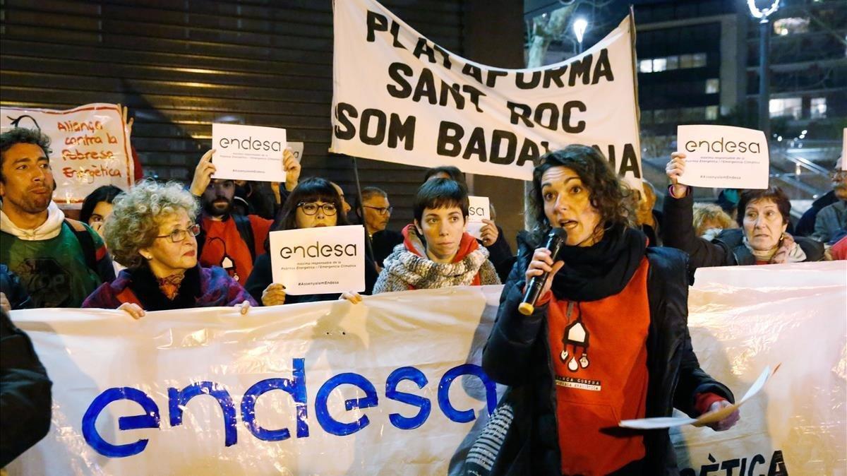 Protesta de la Aliança contra la Pobresa Energética el pasado 22 de febrero.