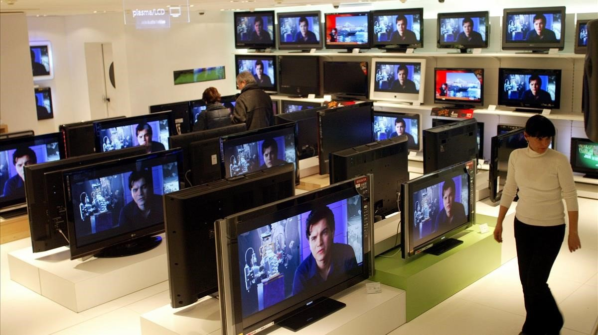 Una tienda de televisores en Barcelona.