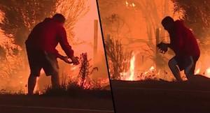 Captura del vídeo en que se ve a un hombre salvando a un conejo de morir en las llamas de los incendios de California.