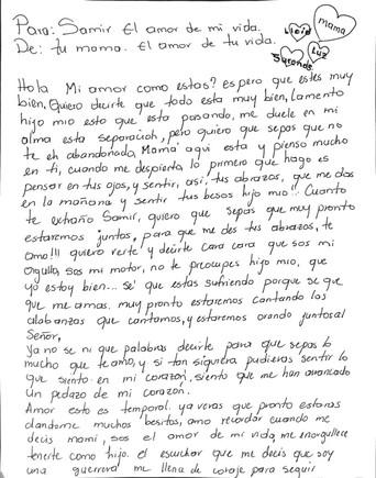 La carta de una madre a su hijo, separados en la frontera de EEUU.