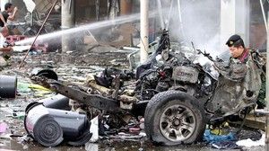 jgblanco38354384 remains of destroyed car are seen at a blast site outside a 170509124802