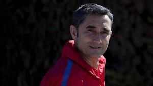 Valverde, tras una rueda de prensa en la ciudad deportiva de Sant Joan Despí.
