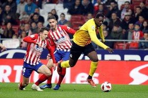 Elhadji, delantero del Sant Andreu, durante el partido ante en el Wanda Metropolitano.