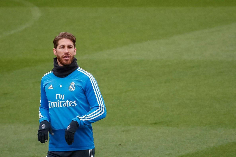 Sergio Ramos durante un entrenamiento del Real Madrid.