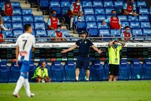 Rufete se lamenta durante el último partido del Espanyol.