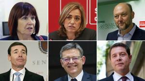Arriba, de izquierda a derecha, Micaela Navarro, Carme Chacón y Antonio Pradas. Abajo, Tomás Gómez, Ximo Puig y Emiliano García-Page.