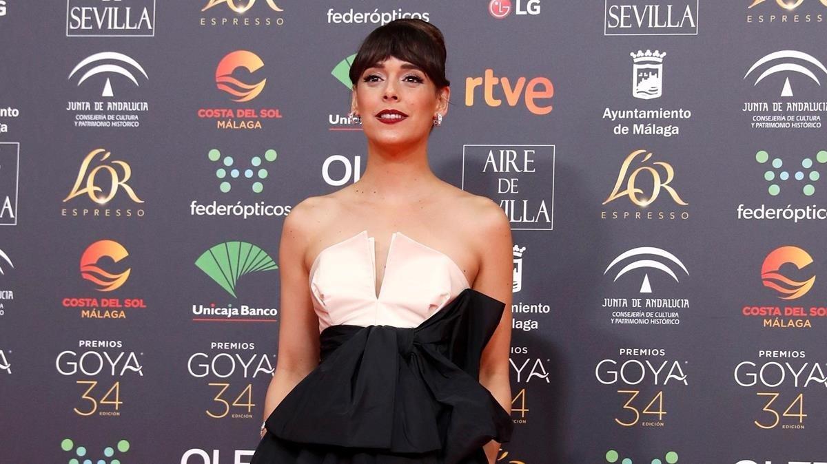 La actriz Belén Cuesta, en la entrega de los Premios Goya 2020, donde fue distinguida como mejor actriz protagonista por su papel en 'La trinchera infinita'.