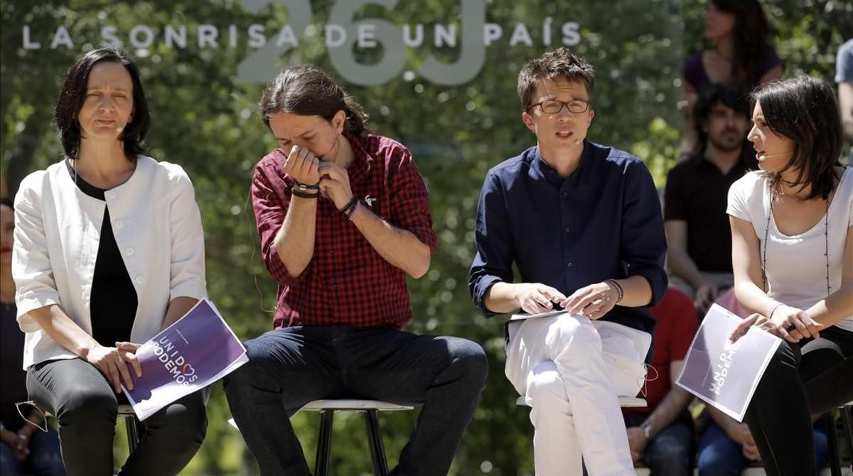 Bescansa, Iglesias, Errejón y Montero en la presentación de la campaña del 26-J, en Madrid.