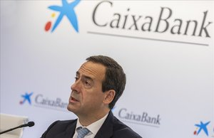 El consejero delegado Gonzalo Gortázar durante la presentación de resultados de CaixaBank