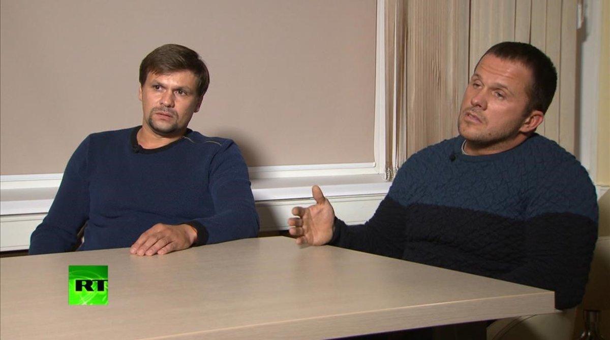 Captura de vídeo del canal de RT de Boshirov y Petroven una entrevista el pasado septiembre.
