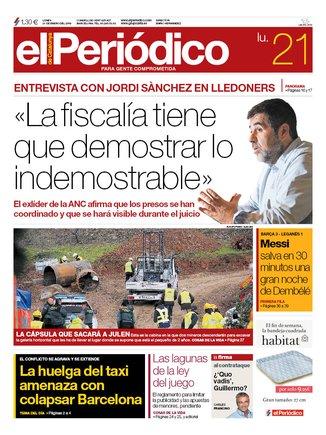 La portada d'EL PERIÓDICO del 21 de gener del 2019