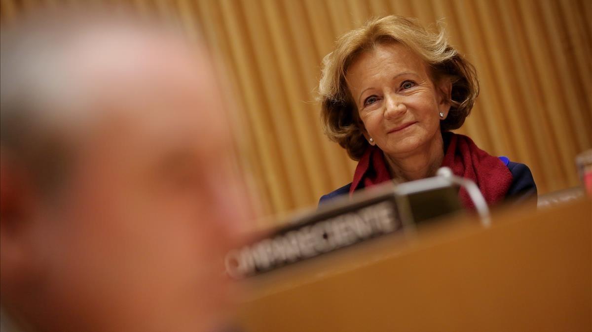 La exvicepresidenta económica, Elena Salgado, en su comparecencia ante la comisión de investigación sobre la crisis del sector financiero, en el 2018.