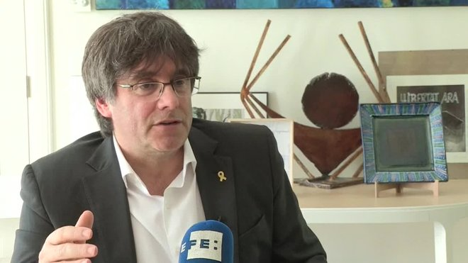 Declaraciones a EFE del expresidente de la Generalitat, Carles Puigdemont, en una entrevista en Waterloo.