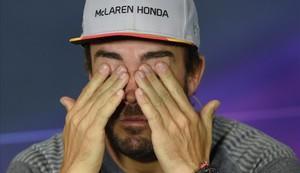 Fernando Alonso en la rueda de prensa del Circuit de Catalunya.