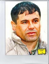 Foto del narcotraficante Joaquín El Chapo Guzmán enseñada al jurado durante su juicio en Brooklyn.