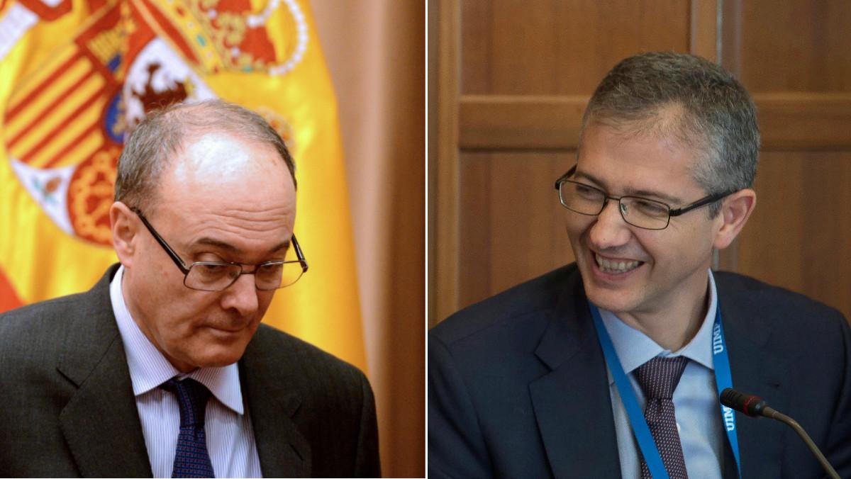 El gobernador del Banco de España saliente, Luís María Linde (i), junto al entrante, Pablo Hernández del Cos (d).