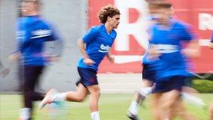 Griezmann, en un entrenamiento del Barça en la ciudad deportiva.