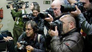 Un grupo de reporteros que trabajan habitualmente en Catalunya.
