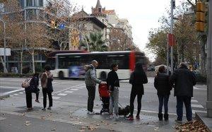 La avenida Diagonal, a la altura de Rambla Catalunya.