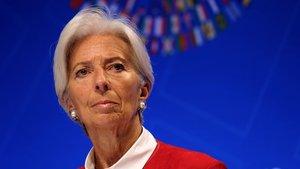 La directora del FMI, Christine Lagarde,durante la reunión semestral que el organismo celebra en Washington.