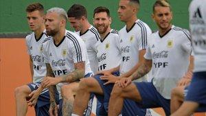 Los jugadores de la selección argentina, en el último entrenamiento.