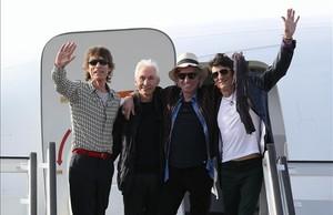 Los Rolling Stones a su llegada a La Habana.